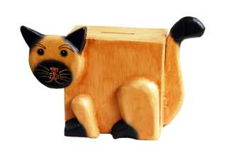 Cat Wooden Piggy Bank