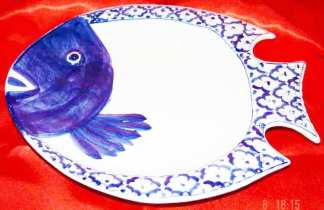Blue White Serving Dish Fish
