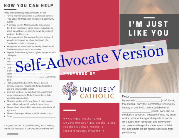 Image of front half of self-advocate autism brochure
