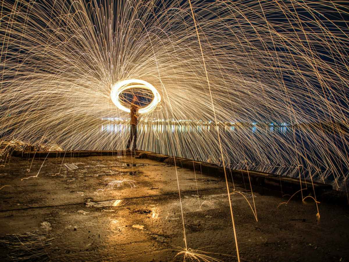 photo of person doing steel wool photography