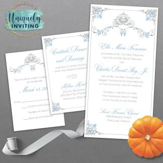 A Dream is a Wish Your Heart Makes Cinderella Wedding Invitation Set