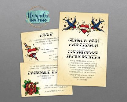 Vintage Tattoo Invitation Set