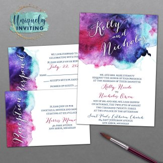 Jewel Tone Watercolor Invitation Set