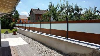 fence flat wood imitation and frosted glass