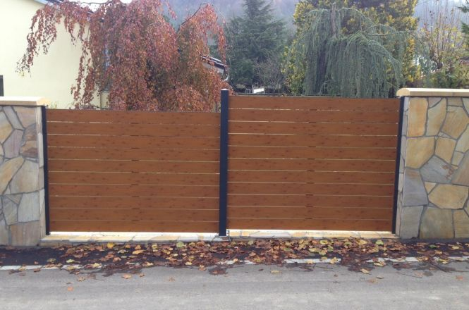 fence flat wood imitation with spacer 2