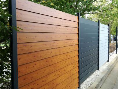 fence louvre wood imitation grey and white