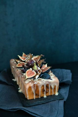 Fig Almond Tea Cake with Coconut Honey Glaze – recipe shared on Hungry Rabbit