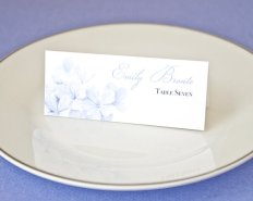 Purple Blue Watercolor Floral Escort Cards – created and sold by PaperbyCharmCat on Etsy