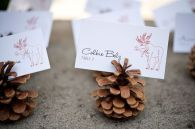Pinecone and Moose Escort Cards – shared on The Sweetest Occasion
