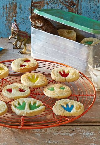 Colorful Dinosaur Track Print Biscuits Cookies – recipe shared by Tesco