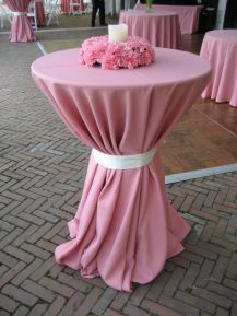Pink Cocktail Tables with Pink Carnation Centerpiece Wreath – spotted on Pinterest