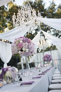 Purple and White Tent Tablescape with Crystal Chandeliers – shared on Hostess with the Mostess by Fresh Events Company
