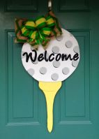 Wooden Golf Ball Door Hanger Welcome Sign – created by MyBelovedReclaimed on Etsy