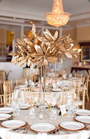 Golden Branch and Leaves Centerpiece – shared by The Arrangement Company