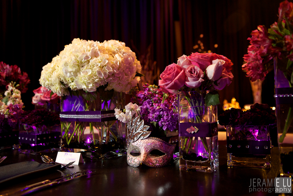 Glamourous Masquerade Centerpiece With Purple And Silver