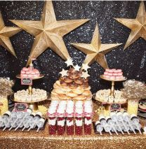 Gold and Black Sequin Food Display – shared by Hostess with the Mostess
