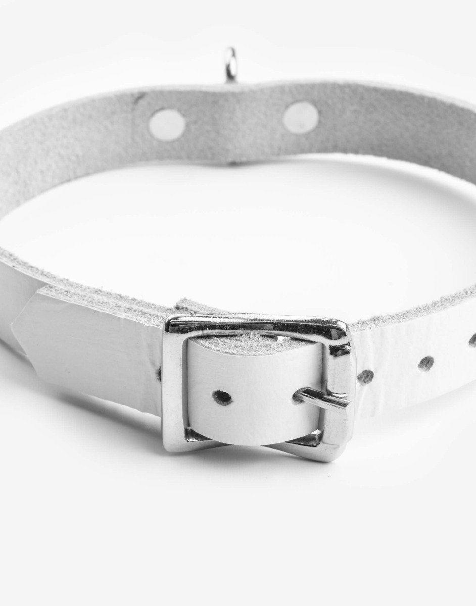 Hvidt læder halsbånd med ring-1177