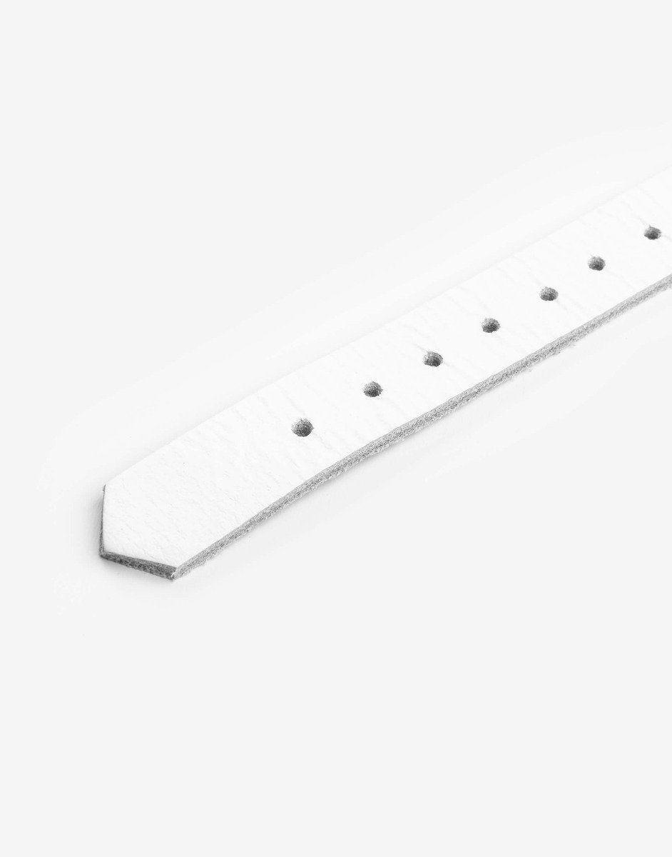 Hvidt læder halsbånd med ring-1179