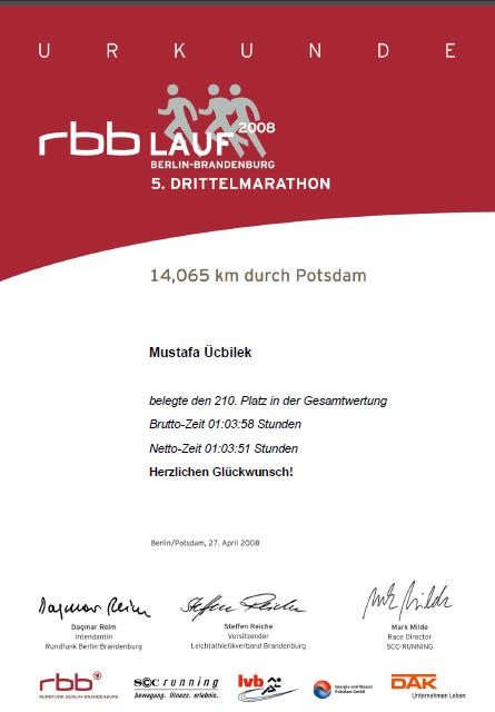 RBB LAUF 5.DRİTTELMARATHON 2008 BERLİN-BRANDENBURG