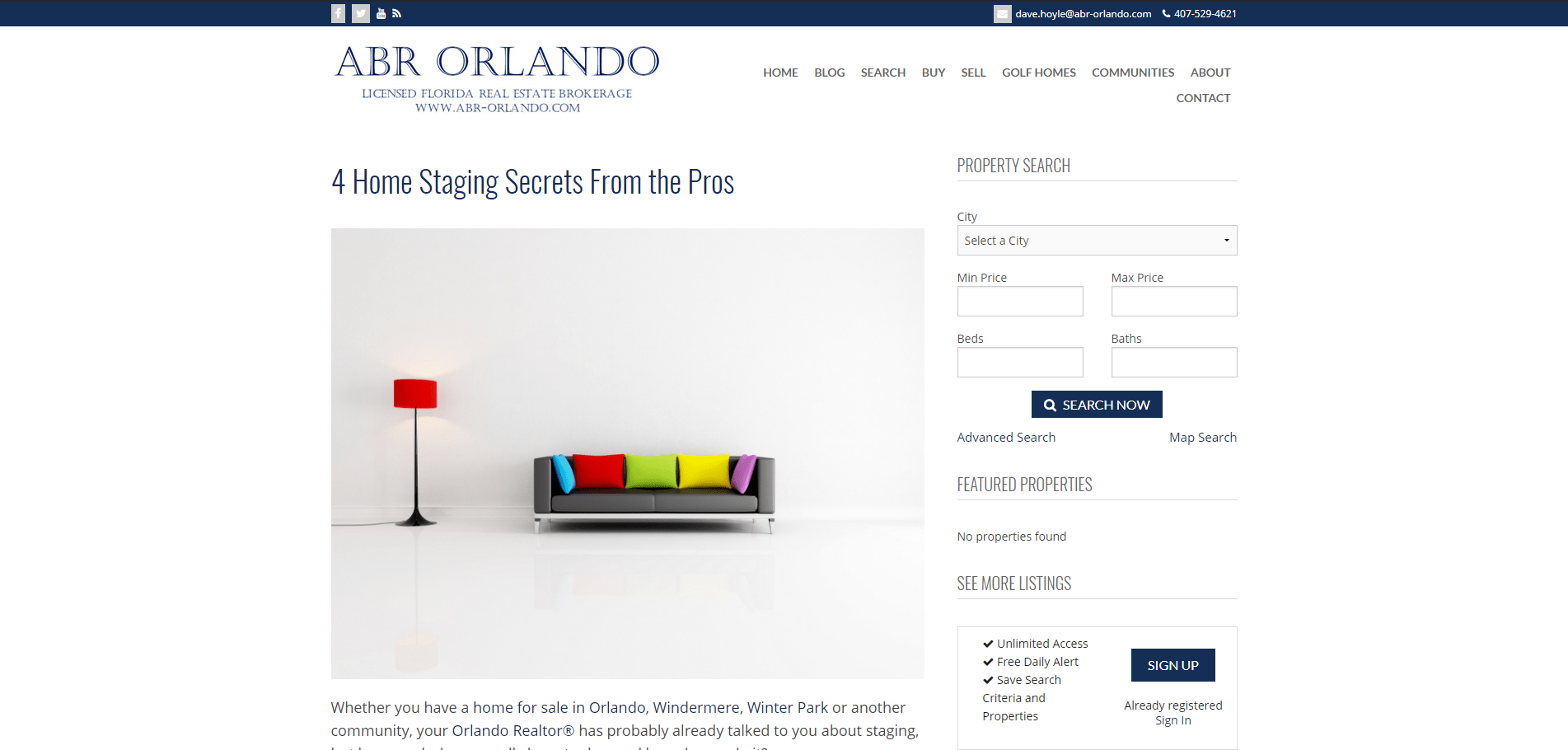 Blog Posts for an Orlando Real Estate Company