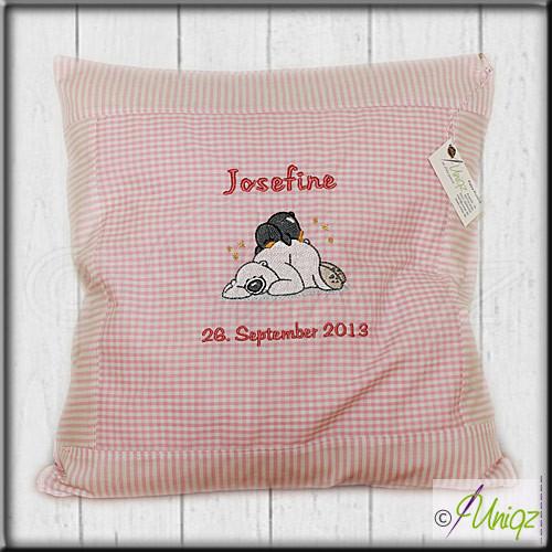 Kinderkissen Eisbär und Pingi, rosa - Josefine