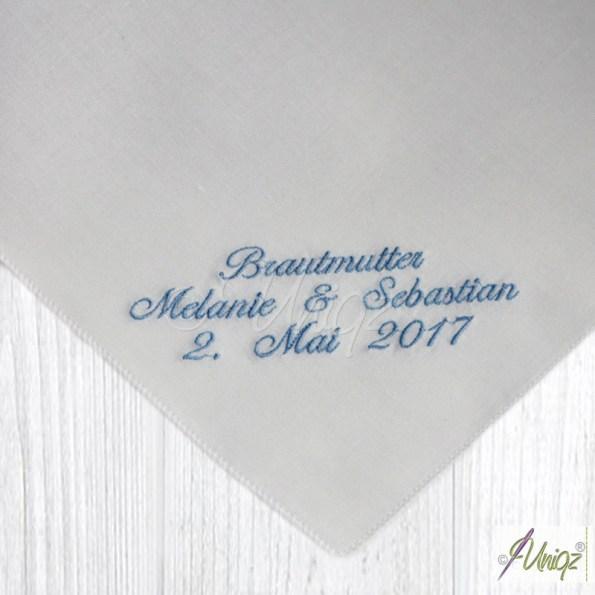 Taschentuch für Freudentränen, individuell bestickt.