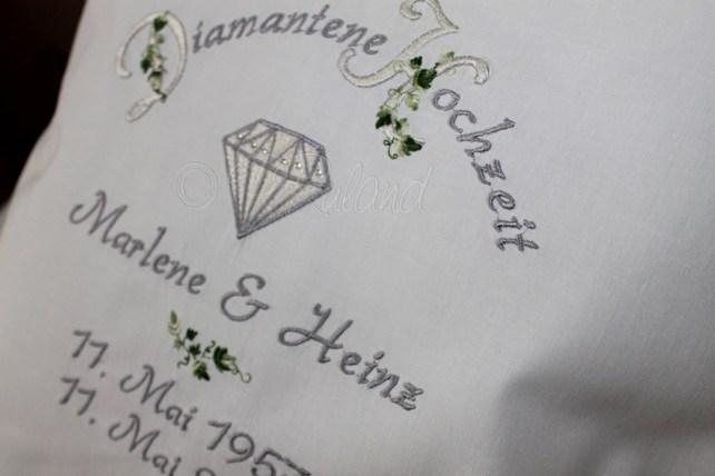 Besticktes Kissen Diamantene Hochzeit
