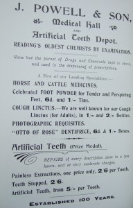 27.advert - J. Powell & Son medical hall and artificial teeth depot