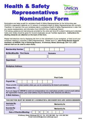 Health & Safety Nomination Form