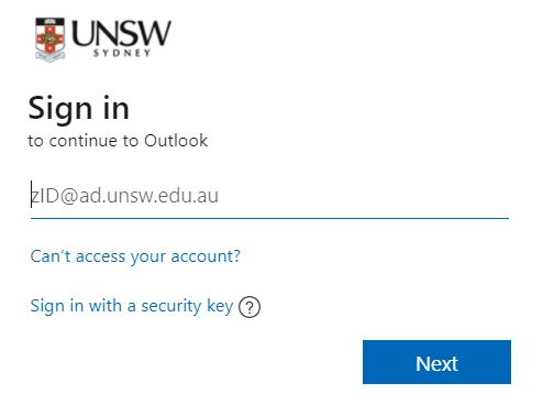 UNSW email login page