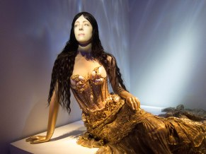 An early dress. The face on this mannequin, and many others, is a projection that moves and sometimes talks or sings.