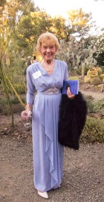 Marilyn Hughes in a dress her mother's sister had. Still stylish.