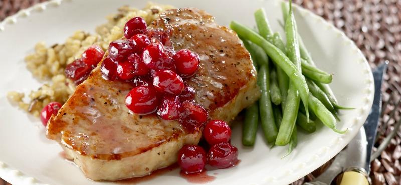 Lonza glassata con salsa di ribes rosso