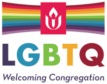 Welcoming Congregations logo. Rainbow background with UUA logo superimposed.