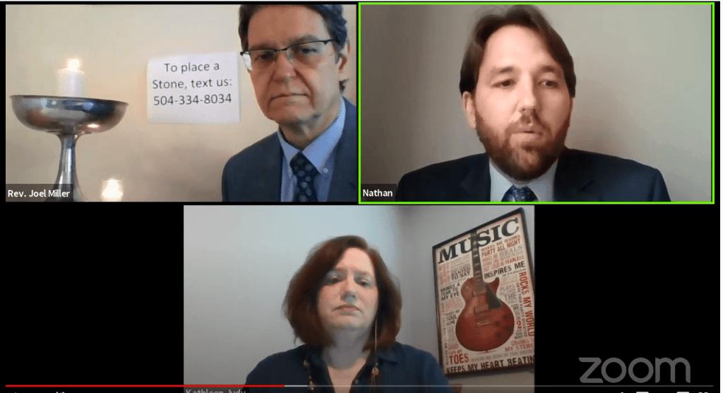 Screengrab of a zoom meeting with three people in separate screens.