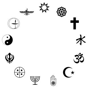 circle of world religious symbols