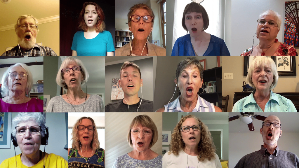 Several small images of adults singing