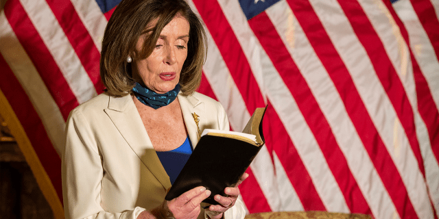 Nancy Pelosi wields Bible, while she bashes Trump, Doesn't mention Antifa, & Lied about an incident.