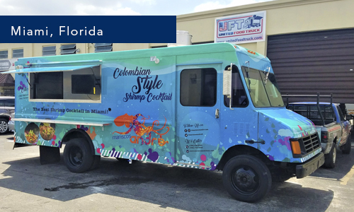 Miami, Florida mariscos Andre Seafood Food truck by United Food Truck