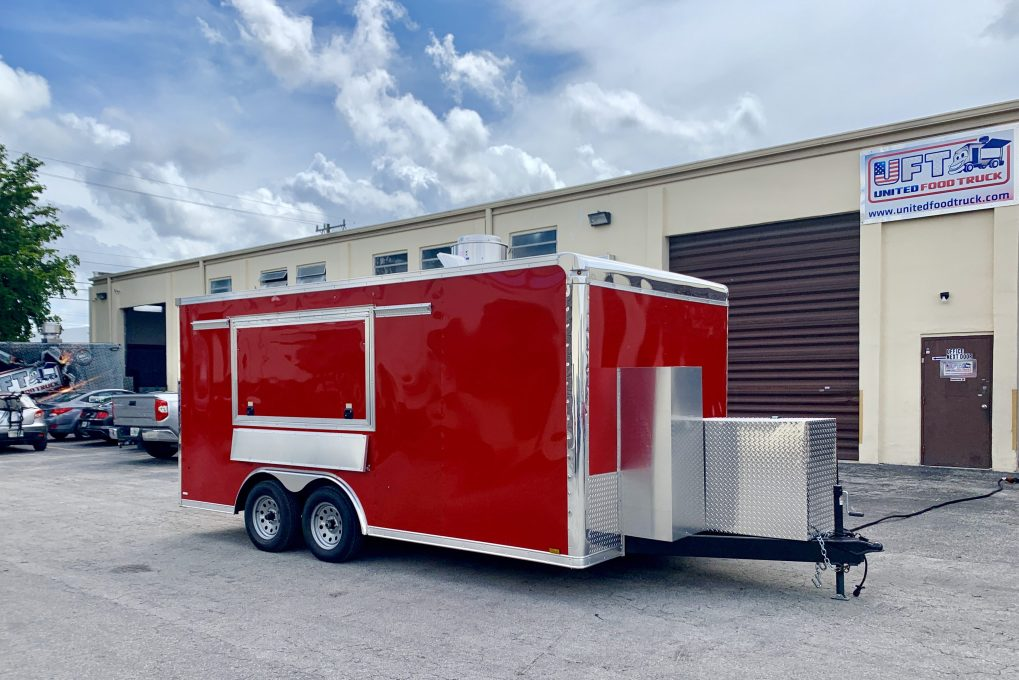 14' Concession Trailer red