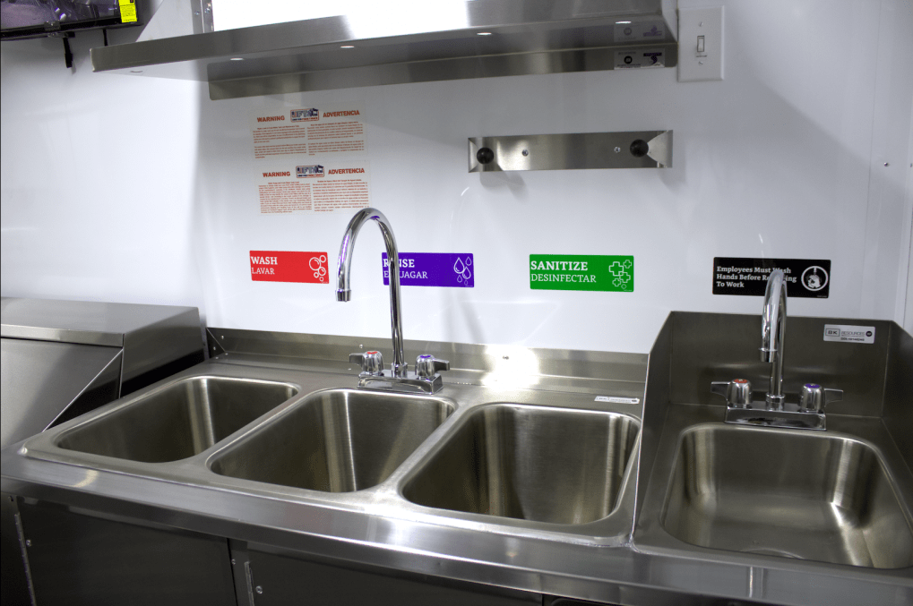 three compartment sink for trailer