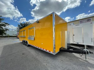 yellow 30 ft concession trailer