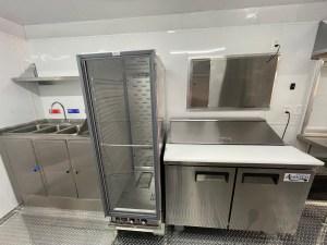 inside of a kitchen trailer