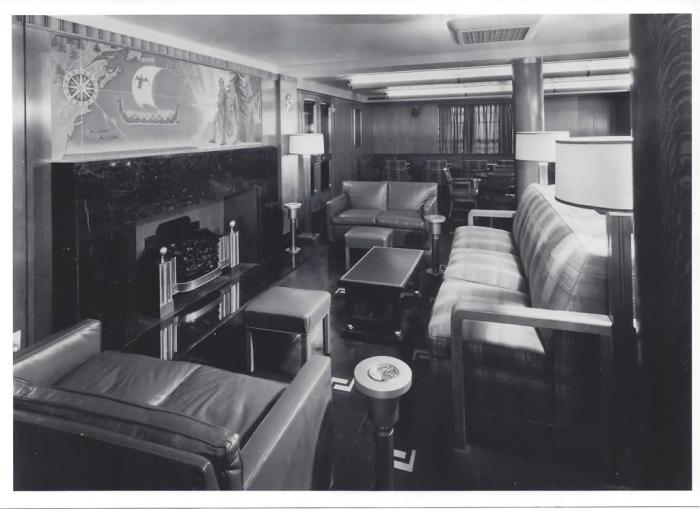Main deck smoking room forward. From the collection of Everett E Viez. Steamship Historical Society of America collections