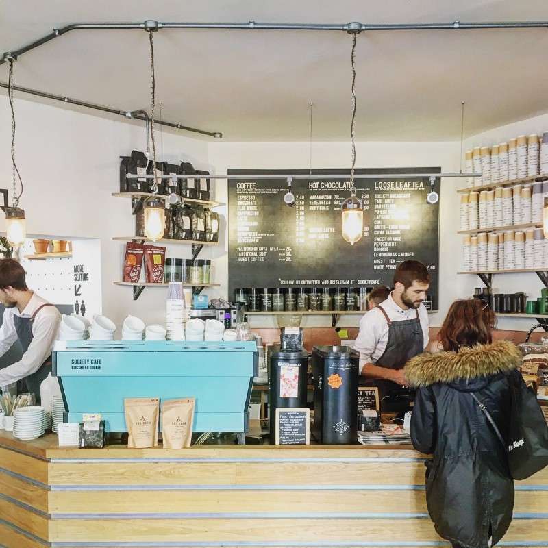Society Cafe in Bath serves Origin's espresso blend on a customised La Marzocco Linea PB.