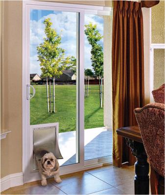 french patio doors with dog door built