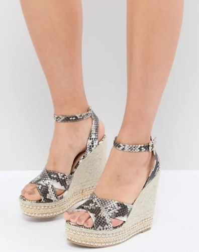 taylor swift reputation tour outfit ideas Glamorous Snake Print Studded Wedge Sandals asos