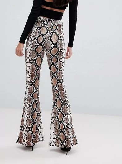 taylor swift reputatin tour outfit ideas Lasula flare pant in snake print asos