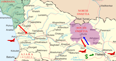 Georgian attack in blue, Russian attack in red, American response in green.