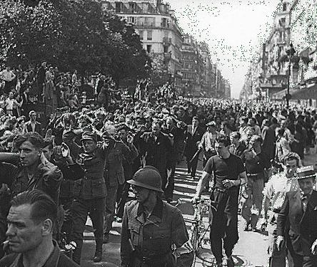 German POWs paraded through Paris, August 25 1944.